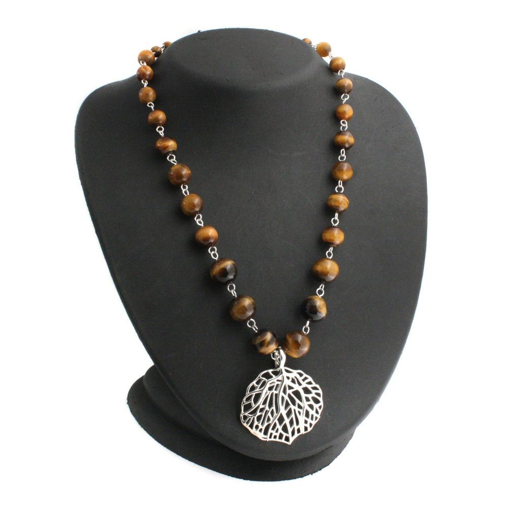 "Sterling Silver Leaf Enhancer on 18"" Graduated Tiger's Eye Bead Necklace #Affinityfashionjewelry #LeafEnhancer"