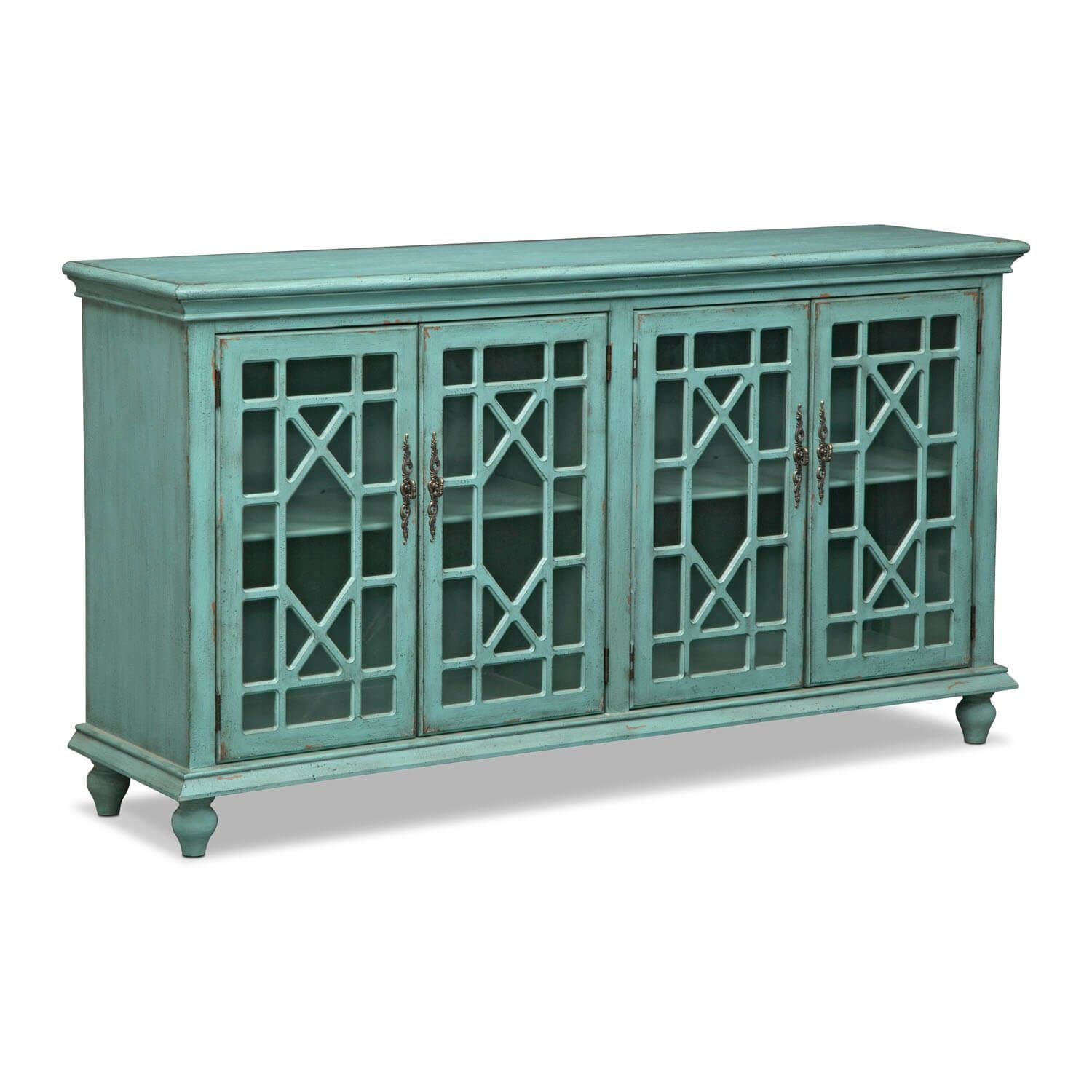 Grenoble Media Credenza - Teal | Credenza, City furniture and Recliner
