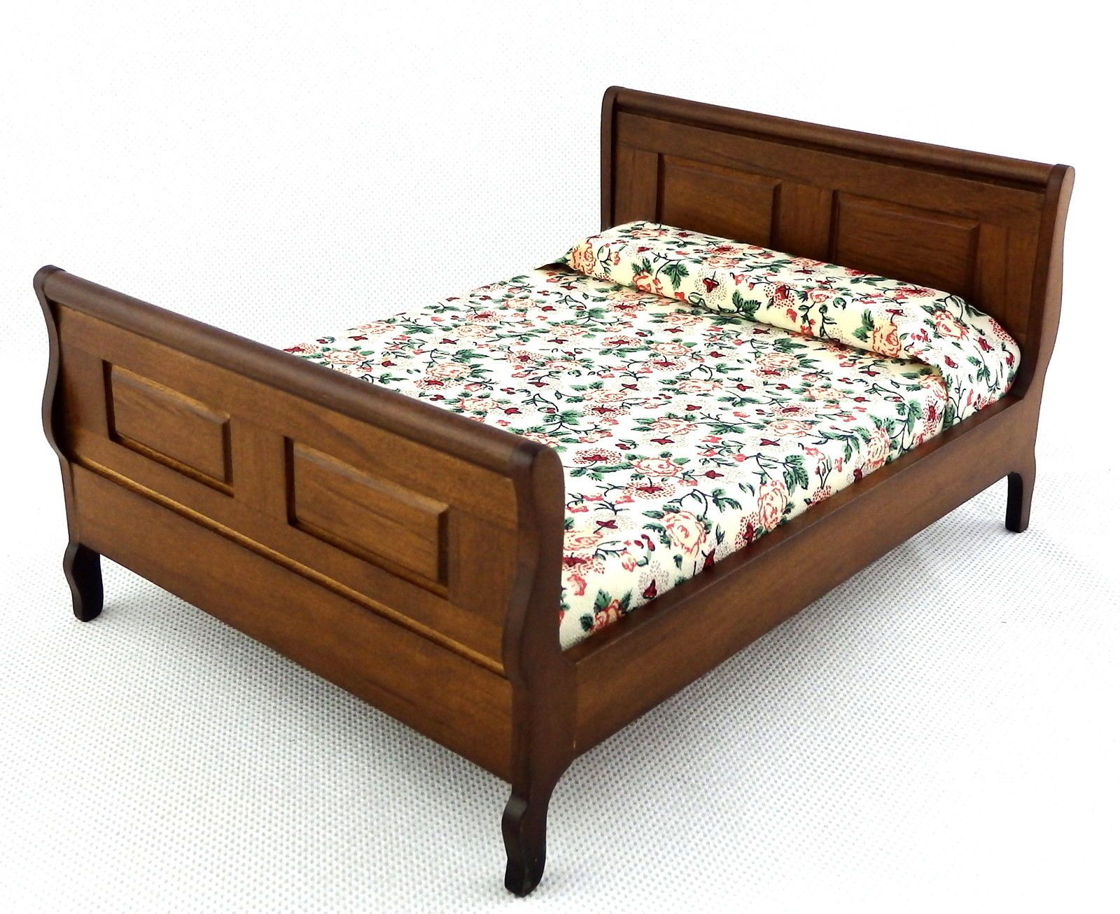 Details about dolls house dark oak double sleigh bed miniature
