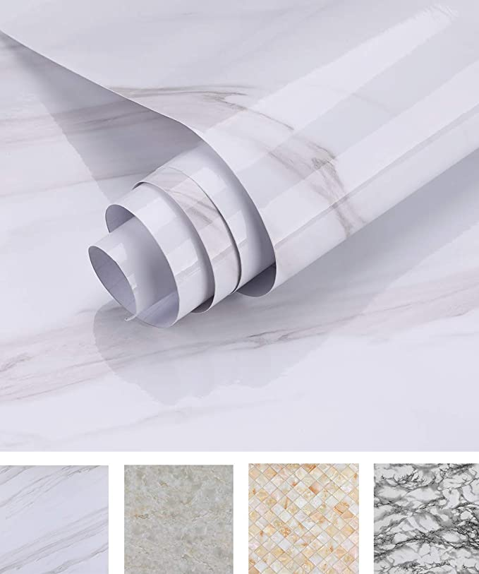 Oxdigi Marble Contact Paper 24 X 196 Inches Self Adhesive Peel Stick Wallpaper For Kitchen Coun Kitchen Wallpaper Wallpaper For Kitchen Cabinets Diy Fireplace
