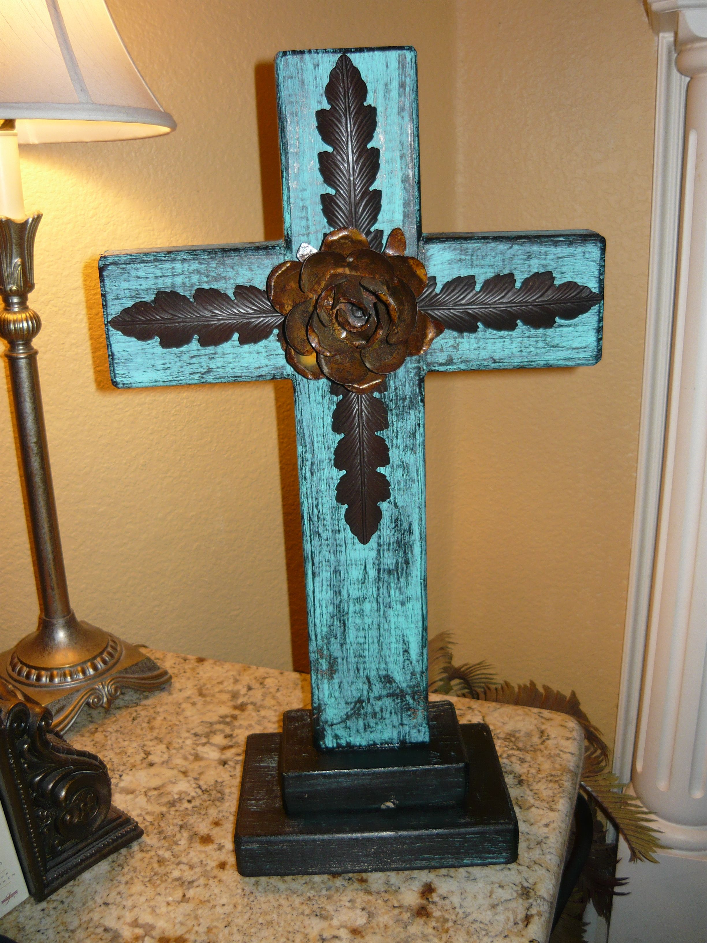 Rustic Standing Wood Cross With Iron Accents And Rusty Rose