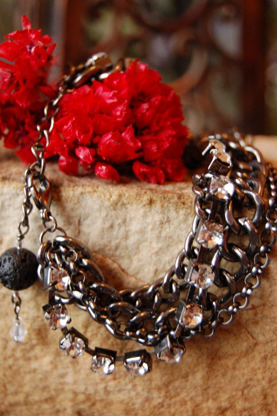 OOAK Midnight Blue Chainmaille with Lava by SilverChaseDesigns, $20.00