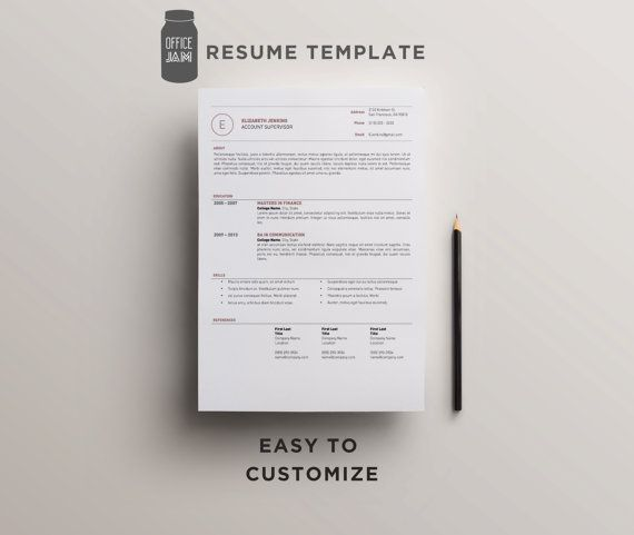 Modern Resume Template The Elizabeth / CV Template - 2 Page Resume