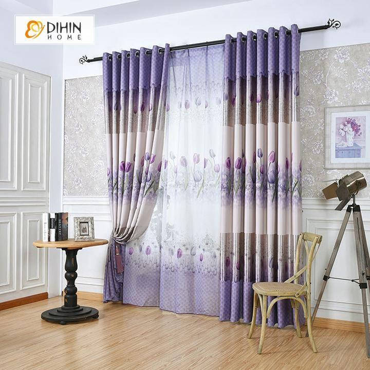 Dihin home purple rose printedblackout grommet window