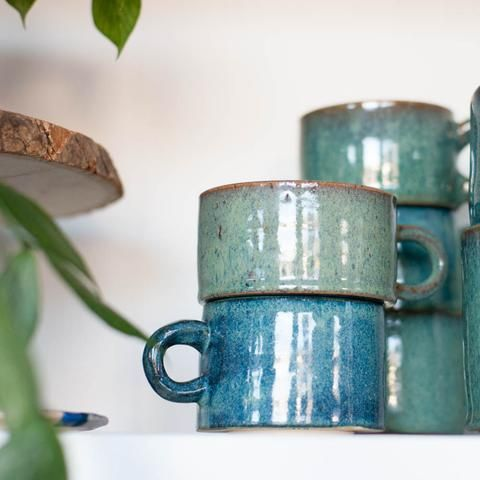Teal Blue Green Ceramic Mugs - Gather Goods Co.