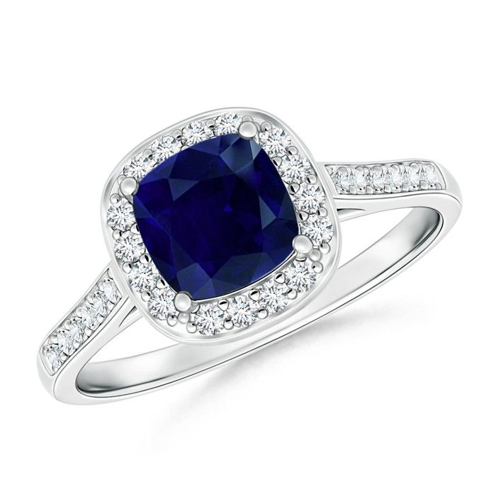 Angara Diamond Halo and Blue Sapphire Ring in Platinum