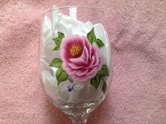 Wine Glasses - Pink roses Hand Painted- set of 2 Glasses - on Etsy, $55.99