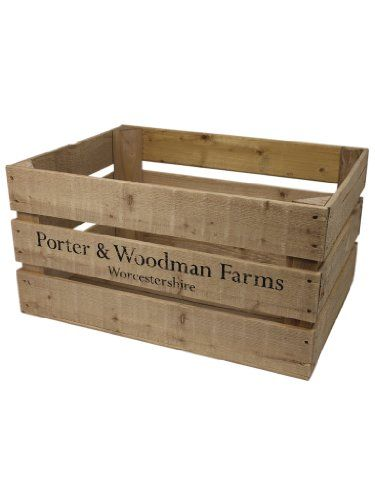 Rustic Crate With P W Farms Print Large Wooden Box Uk Http Www Amazon Co Uk Dp B00bji67k4 Ref Cm Sw R Pi D Wooden Wine Boxes Large Wooden Box Wooden Crates