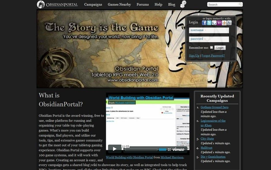 Obsidian Portal Allows You To Create Campaign Websites For Tabletop Roleplaying Games