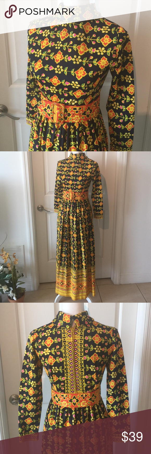 Vintage s patterned high collar maxi dress really rad s
