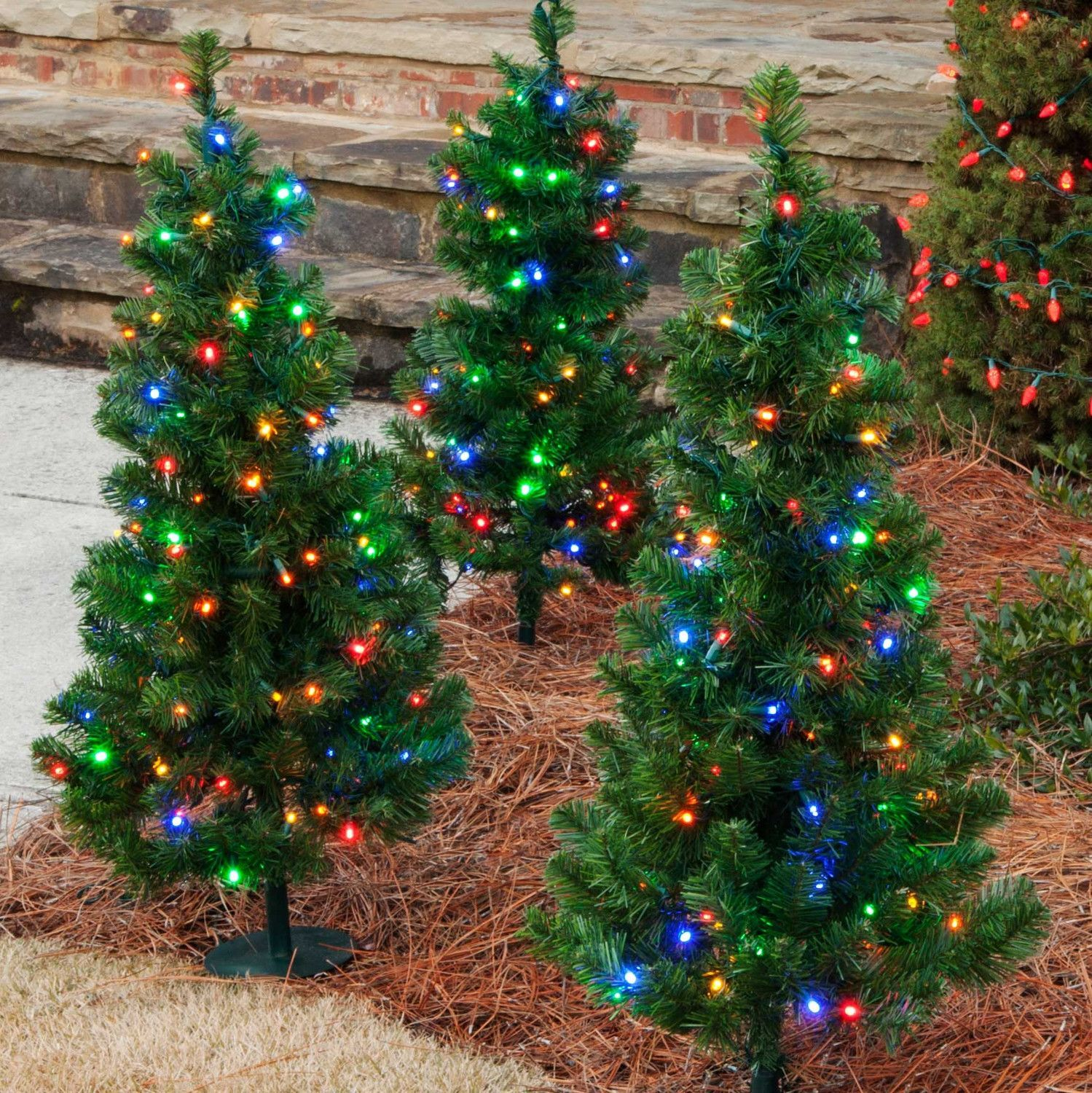 Set Of 2 Multicolor Led Christmas Walkway Trees 2ft Tall Outdoor Christmas Tree Colorful Christmas Tree Outdoor Christmas