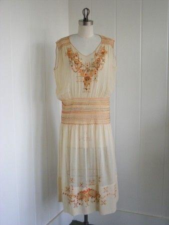 50cc42057f20 1920 s Vintage Embroidered Batiste Summer Dress in Cream Large. Deco ...