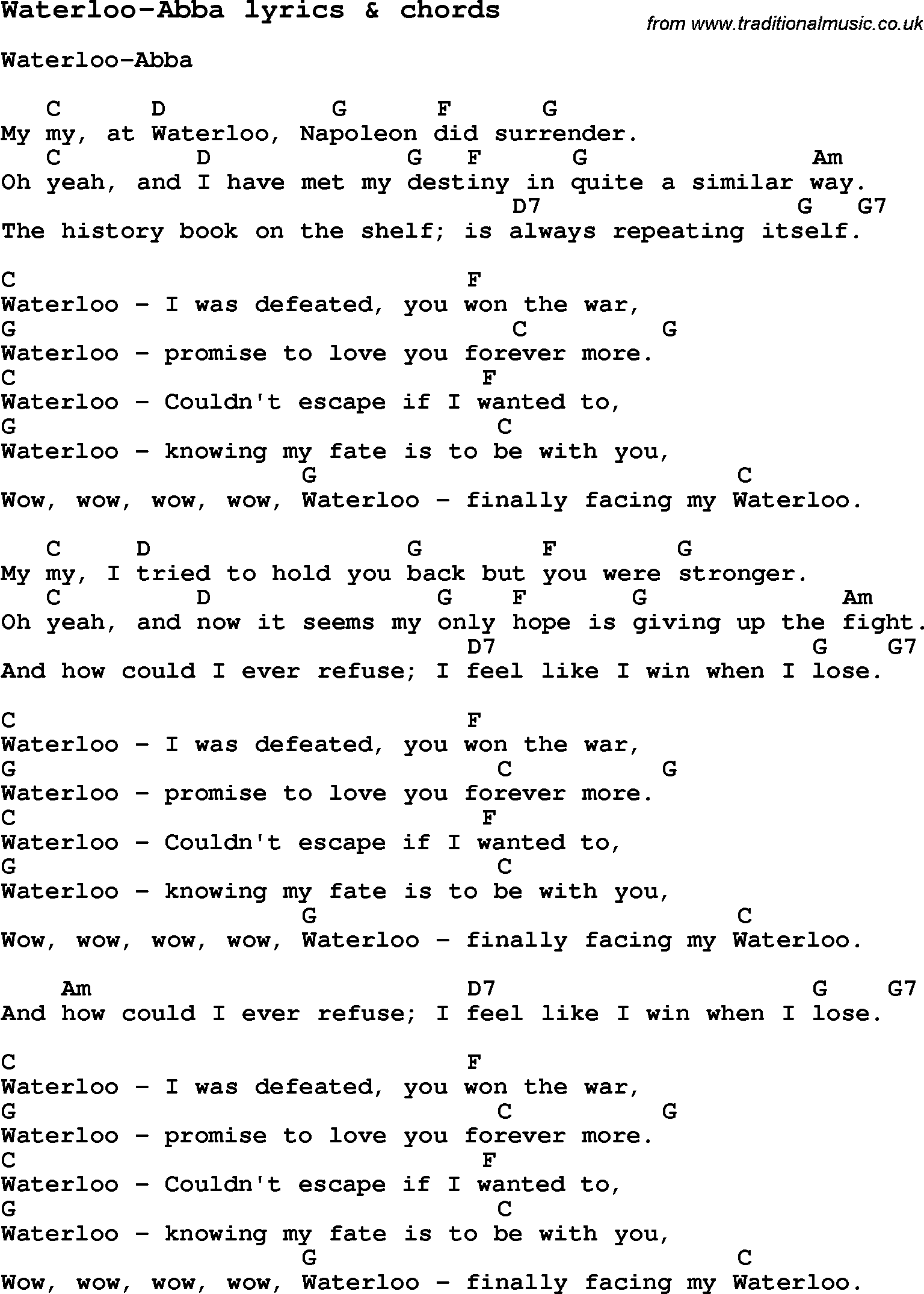 Love Song Lyrics For Waterloo Abba With Chords For