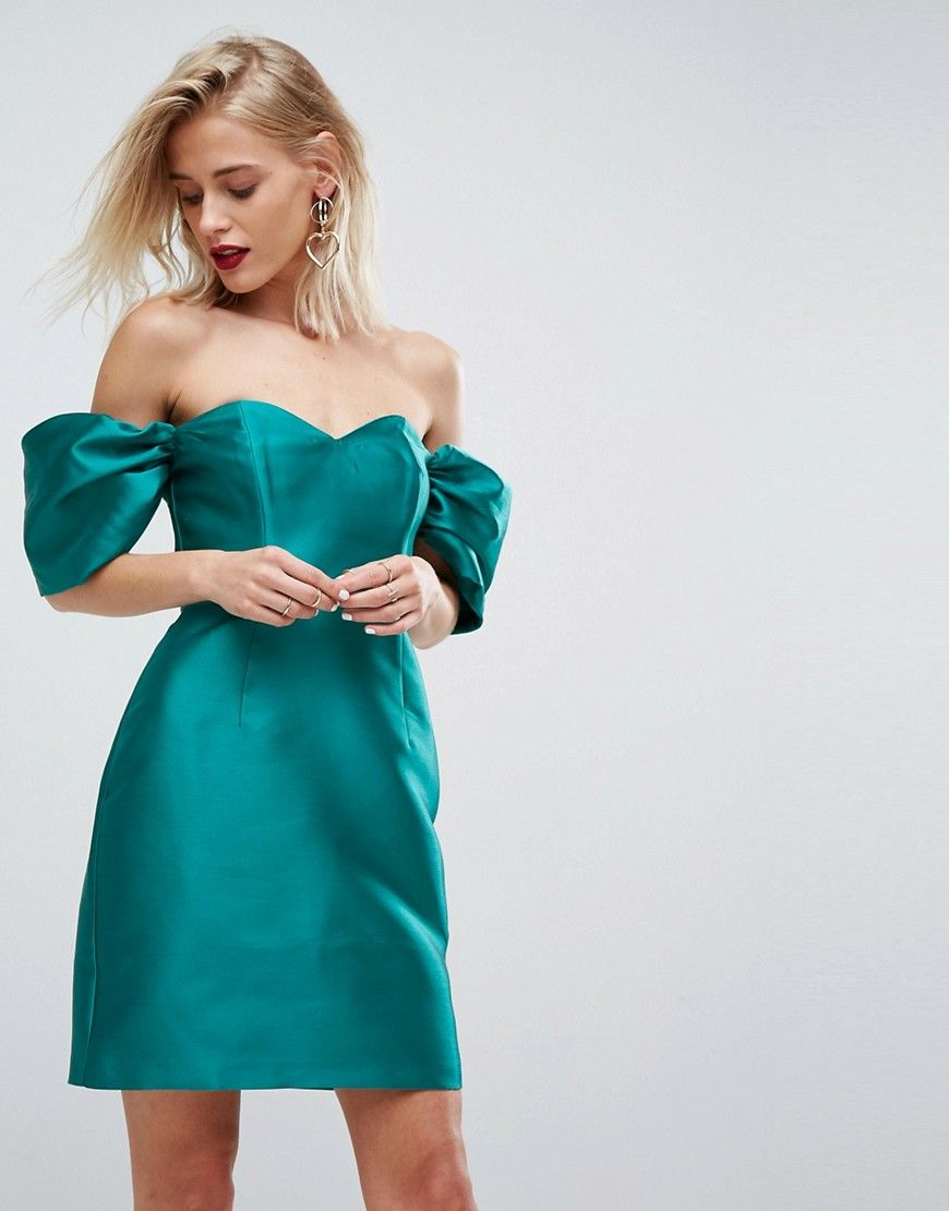 ASOS Bardot Structured Cocktail Mini Dress - Green  Grüne