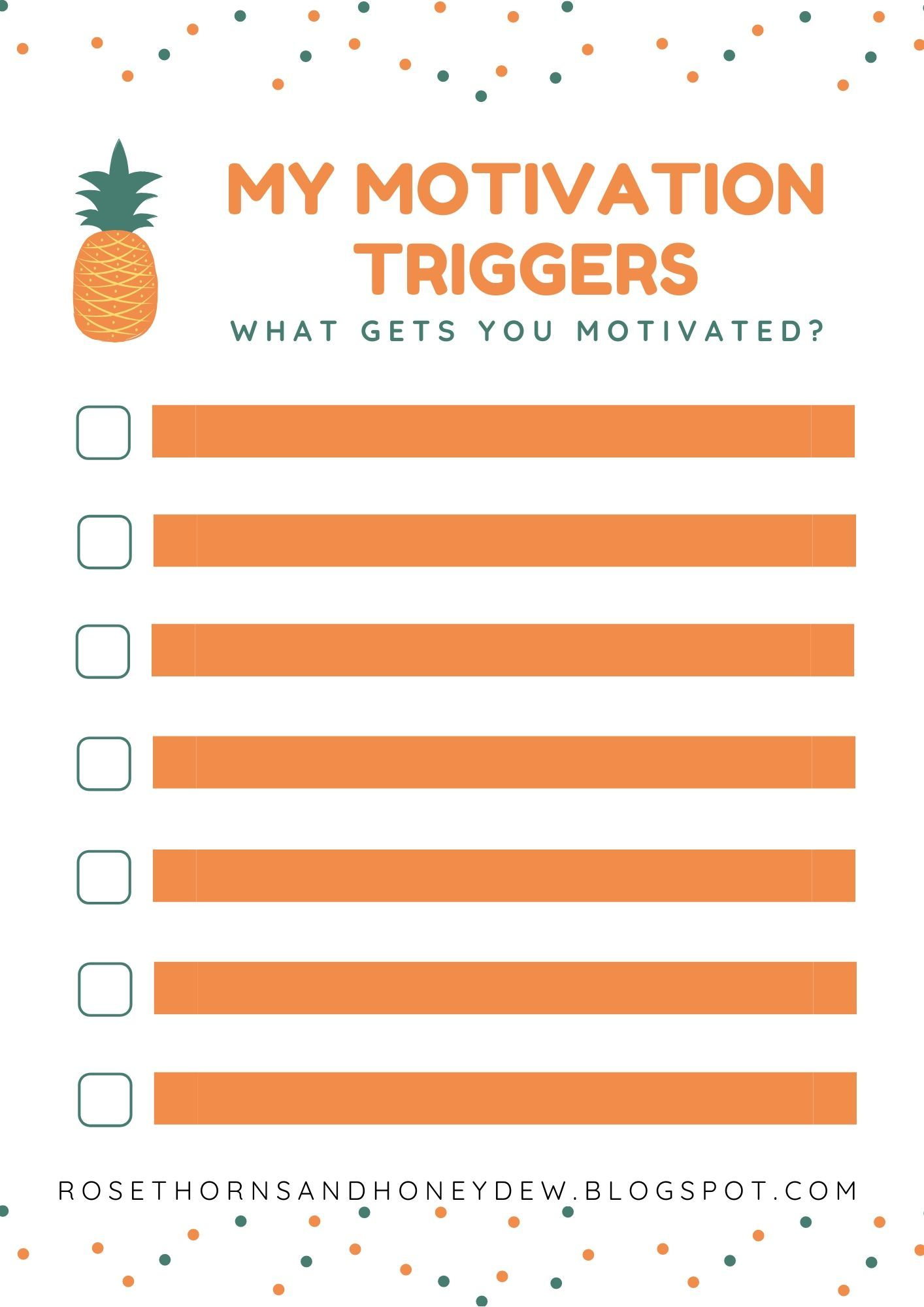 Free Motivation Triggers Worksheet In