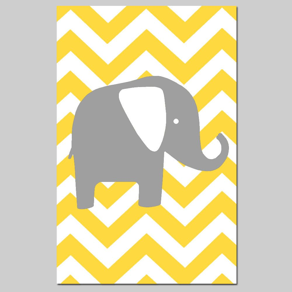 Chevron Elephant Silhouette Nursery Art Print - 13x19 - CHOOSE YOUR ...