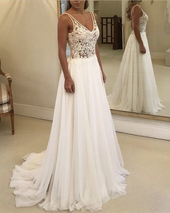 A Line Lace Mieder Brautkleider, Chiffon V-Ausschnitt ärmellose Brautkleider, Backless Spaghe…