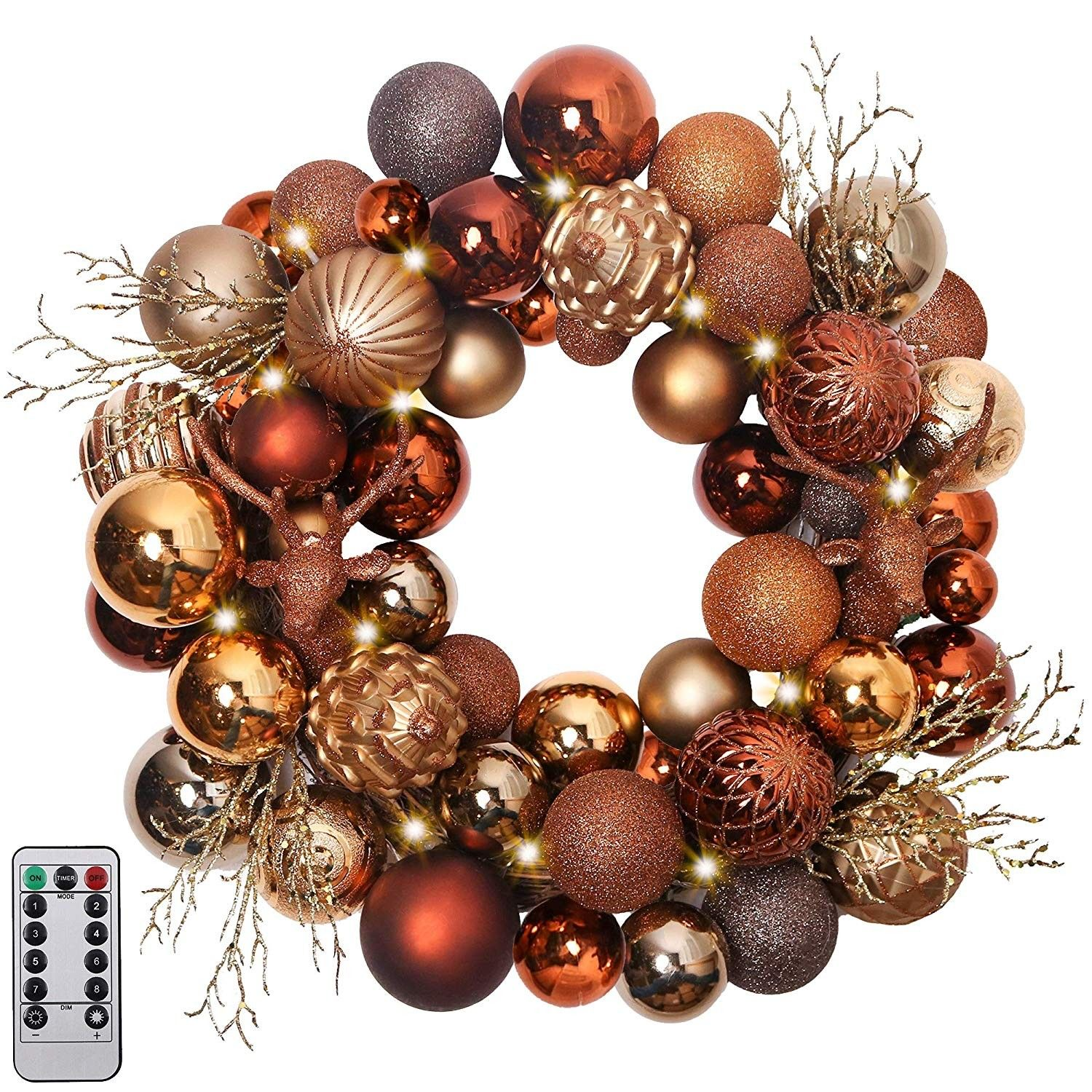 20 Pre Lit Woodland Christmas Wreath With Shatterproof Ball Ornaments Rattan Base With 20 Led Lights Remote And Timer Included Themed With Tree Skirt Not Christmas Wreaths Wreath Decor Ball Ornaments