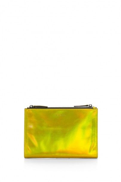 I love the yellow holographic-style...Rebecca Minkoff Royal Triple Zip Pouch