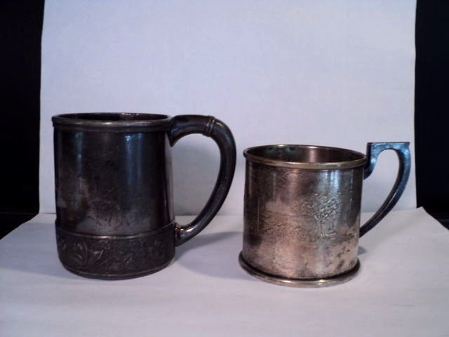 2 Victorian silverplate childs cup Ride a Cock Horse, Wilcox Apollo Bernard Rice