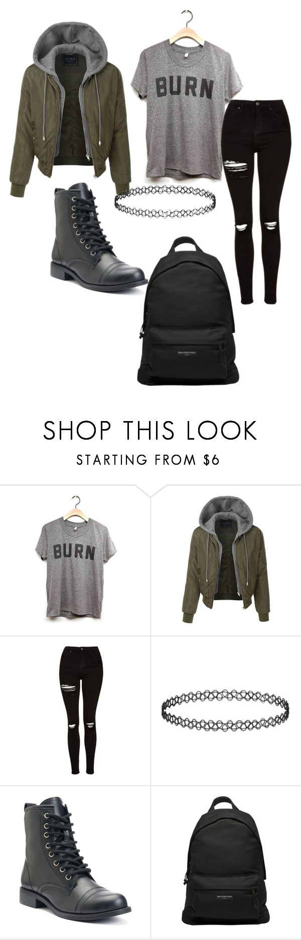 """""""burn!"""" by fandomgirl46 ❤ liked on Polyvore featuring LE3NO, Topshop, Balenciaga, BackToSchool, school, jeans, rippedjeans and combatboots"""