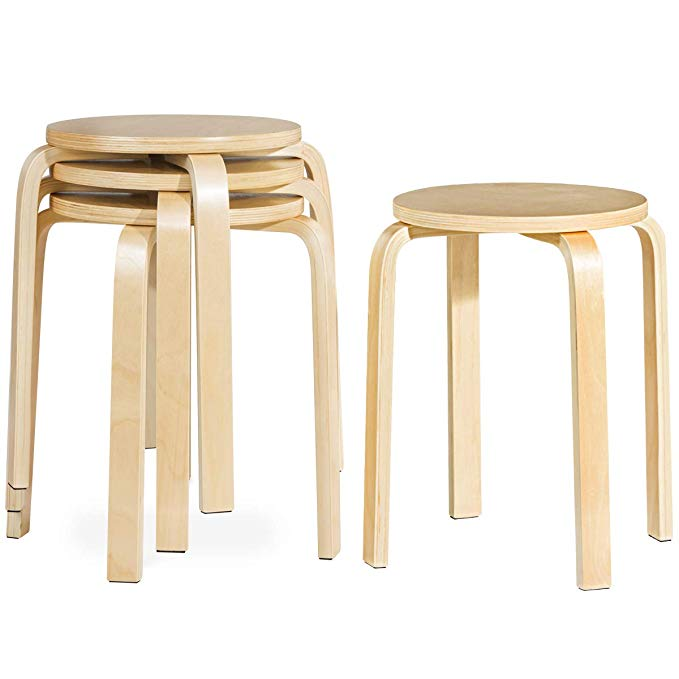 Amazon Com Costway 17 Inch Bentwood Stools Backless Chairs Round Top Stackable Wood Seat For Dinning Kitchen Dining Stools Modern Bar Stools Round Bar Stools