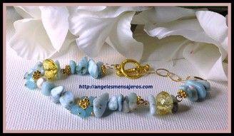Larimar bracelet , jewerly , pulsera larimar,cristales de cuarzo,cuarzos,piedras de cuarzo,joyeria,joyeria cristales de cuarzo