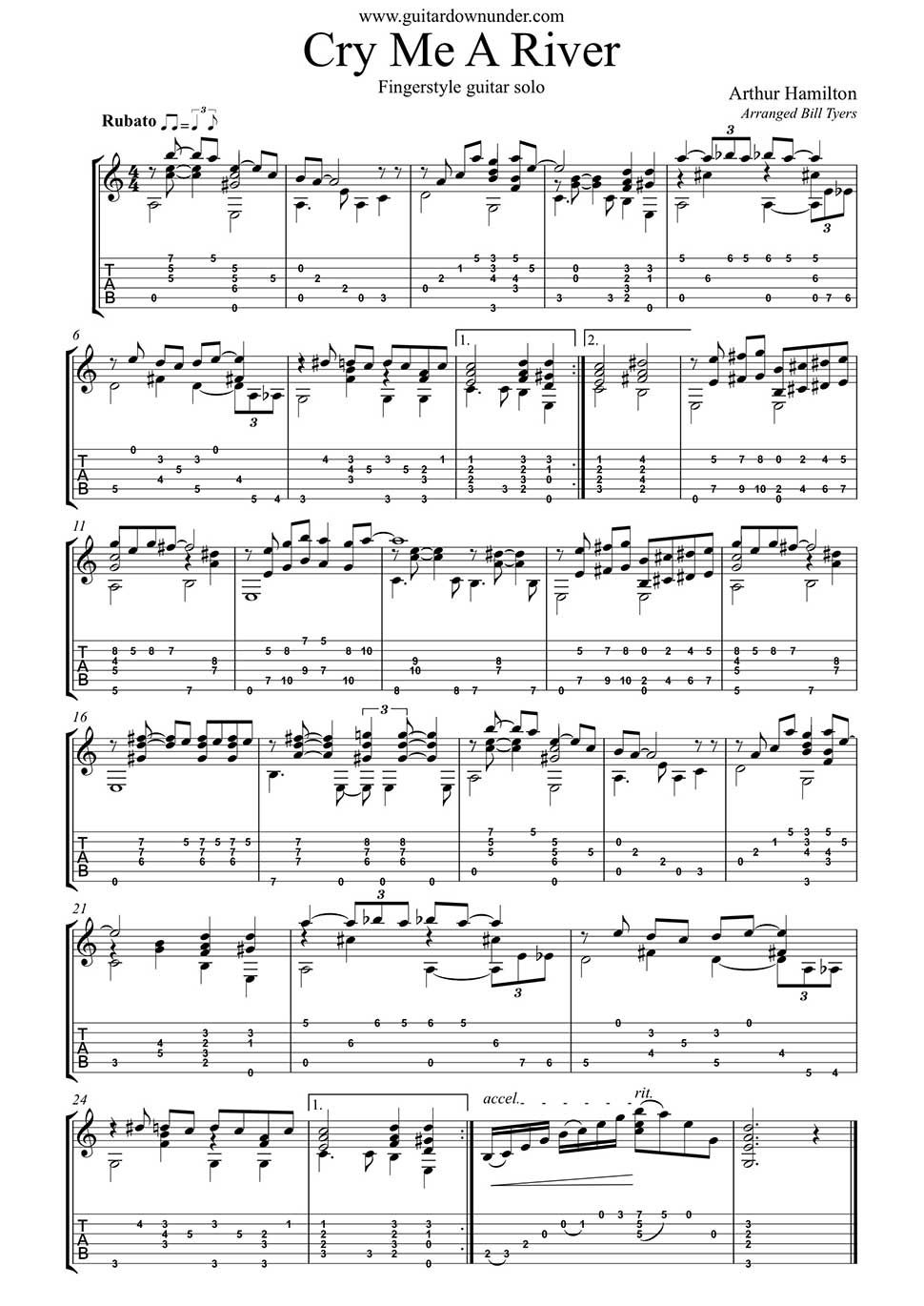 Cry Me A River Arranged For Fingerstyle Guitar By Bill Tyers Fingerstyle Guitar Guitar Sheet Music Guitar Tabs Songs