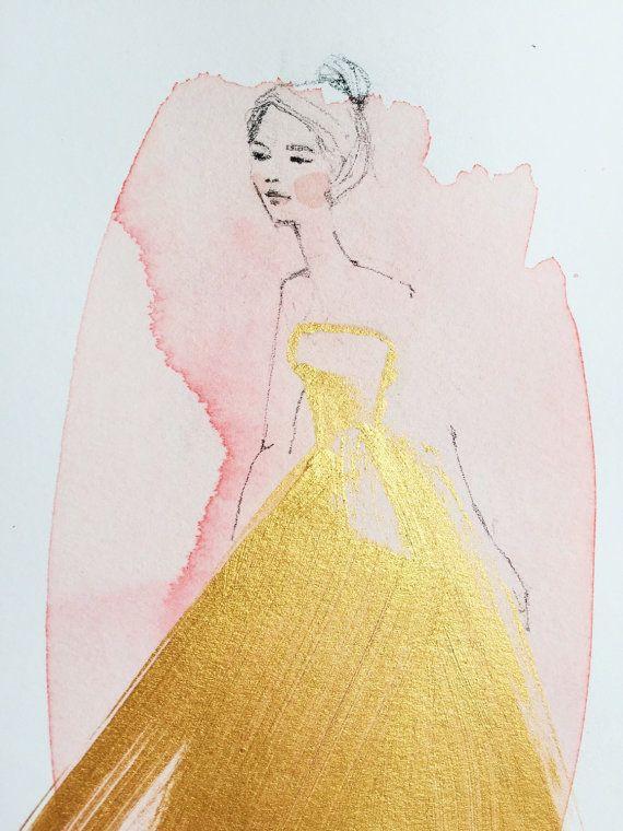 Woman in Gold original acrylic | Kristine Brookshire | Etsy