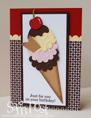 handcrafted birthday card from Ryemilan's Ramblings: Punch Art Ice Cream Cone ... with a cherry on top ...
