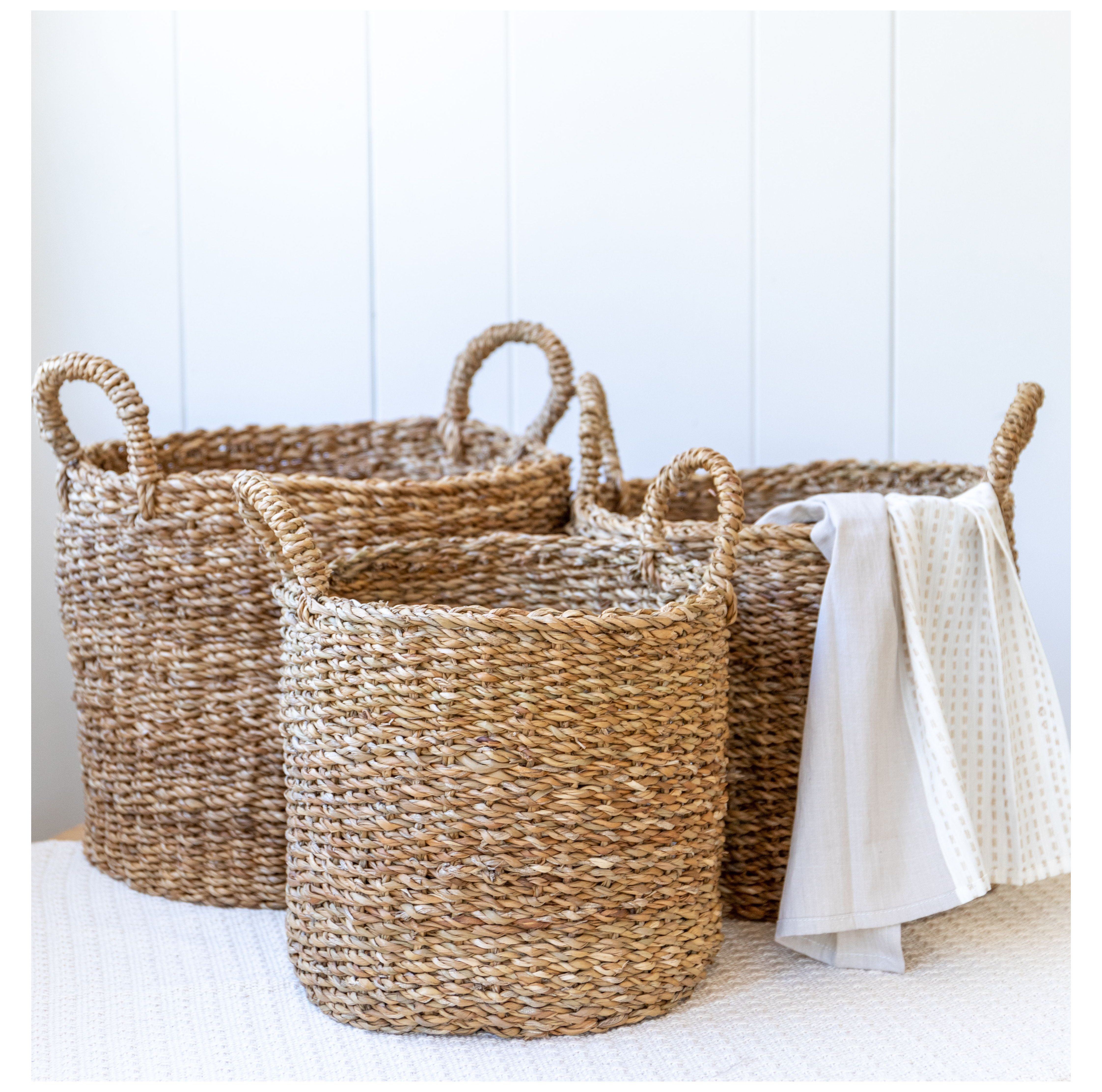 Sustainable Storage Wicker Blanket Basket Store Towels Toys Blankets And More In These Hand Woven In 2020 Woven Basket Decor Floor Baskets Woven Baskets Storage
