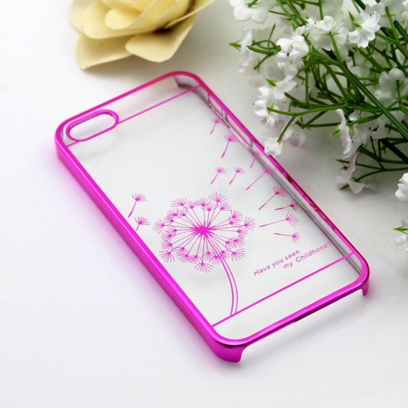 50pcs/LOT Electroplating dandelion stylish Clear Crystal Diamond Transparent Hard Case Cover For iphone 5 5s