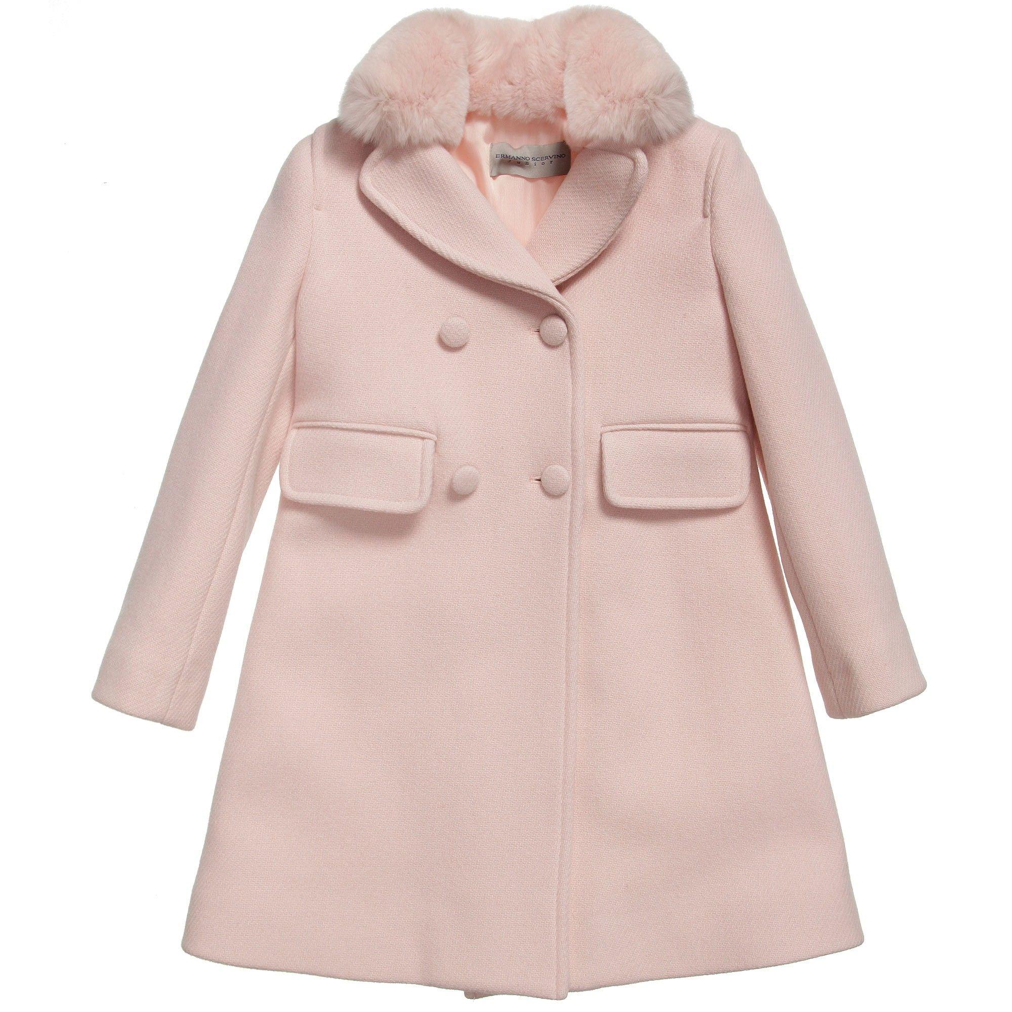 d8b15aa0eb6f6 Ermanno Scervino Girls Pink Classic Wool Coat