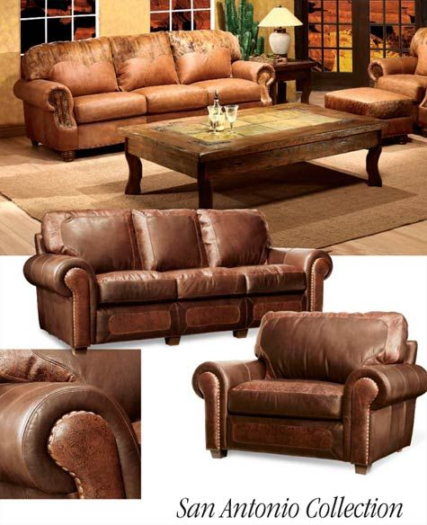 Southwestern Leather Furniture Sofa Chair Ottoman Sofa Furniture Western Furniture Furniture