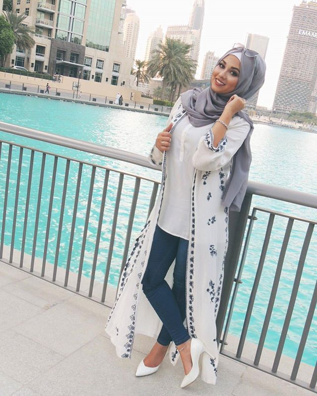 Navy jeans, long vest with blue details and grey hijab , check out Esma \u003c3