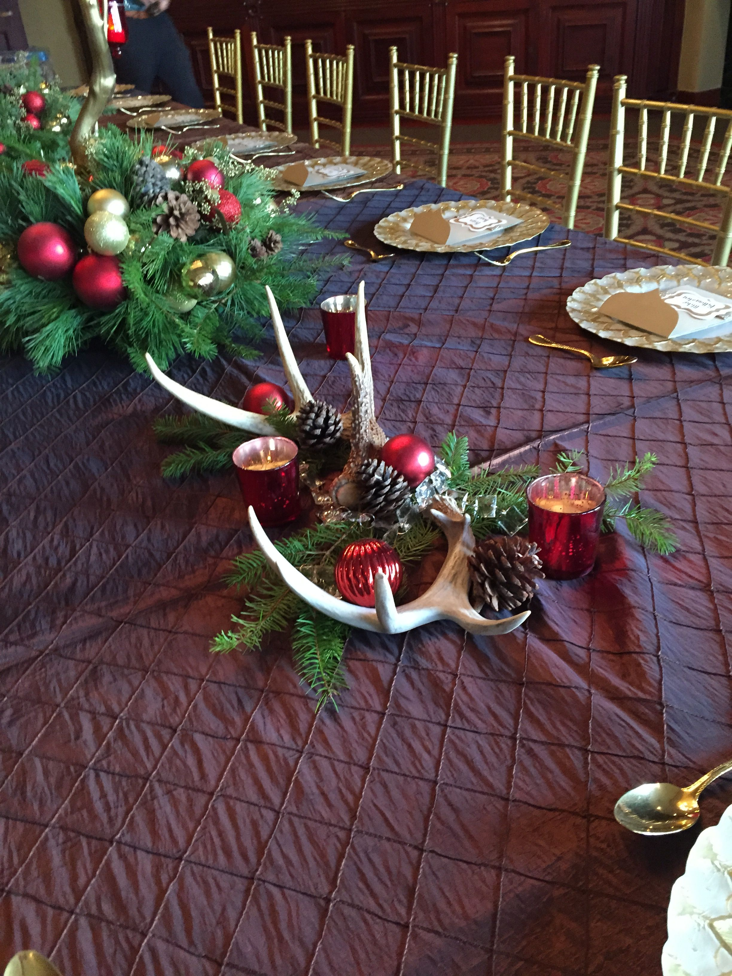 Rustic Antler Holiday Table Decor Holiday Table Decorations Christmas Party Centerpieces Christmas Dinner Centerpieces