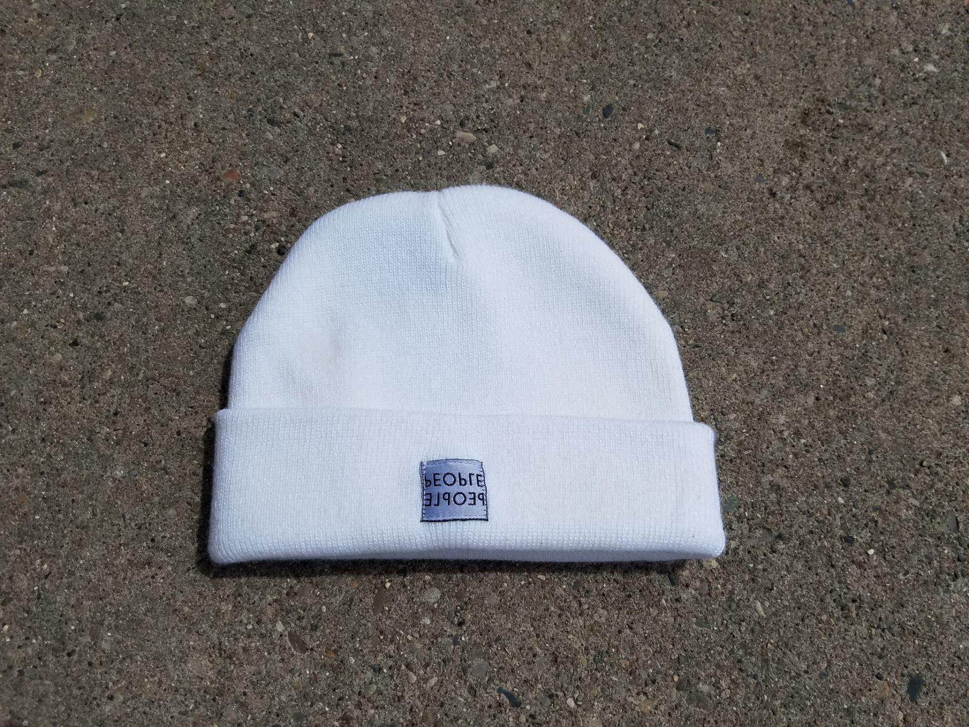 People Mirrored Reverse Label Beanie Cap white