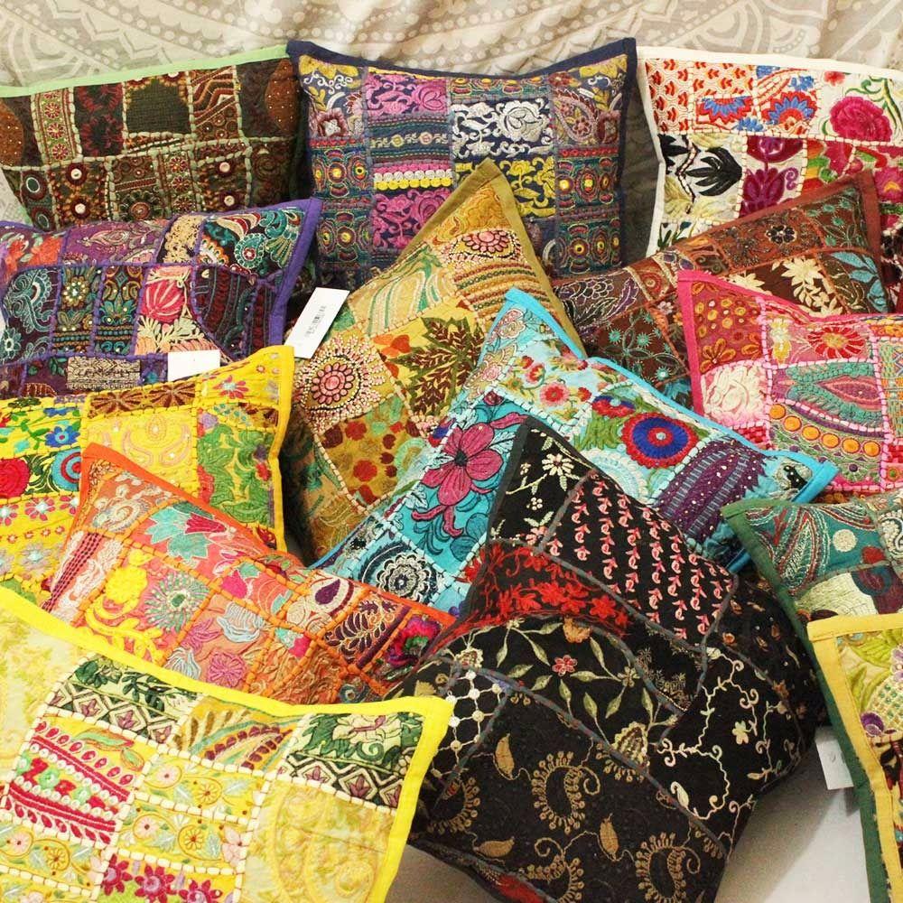 Indian Vintage Patchwork decorative throw pillow, Cheap décor floor ...