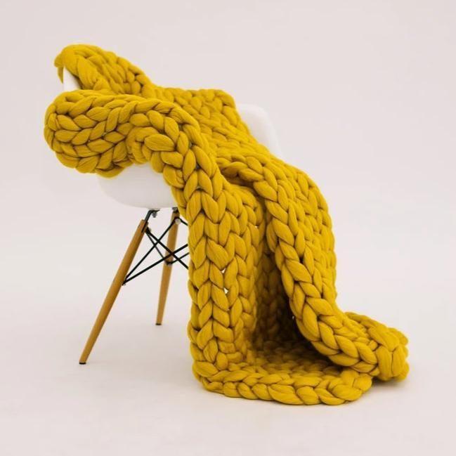 Mustard Merino Wool Throw - Small / Mustard