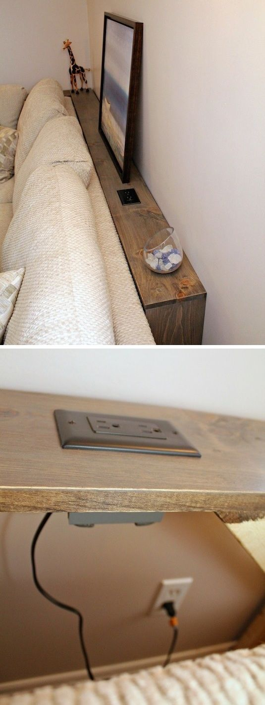 Small space idea for the living room! A skinny table with a built-in outlet for behind the couch. #livingroomideas