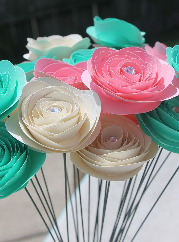 """24 Stemmed Cotton Candy Spiral Paper Flower Bouquet 2"""" - Wedding - Home Decor - Gift - Party - Baby Shower on Etsy, $23.00"""