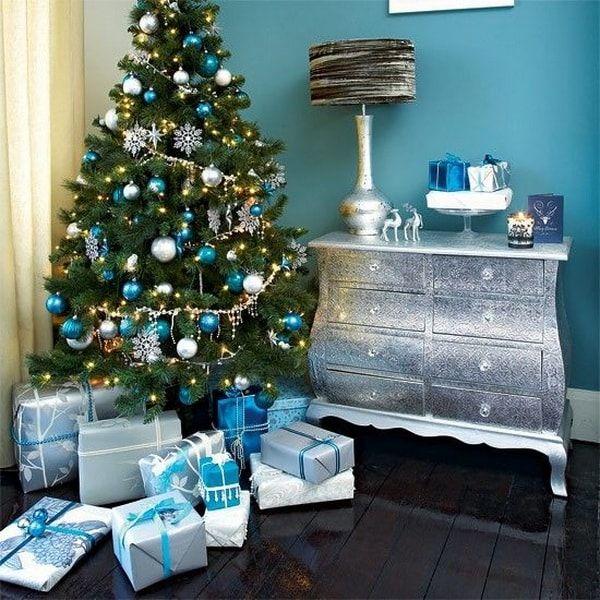 Decoraci n navide a en color turquesa ideas para navidad - Decoracion navidena artesanal ...
