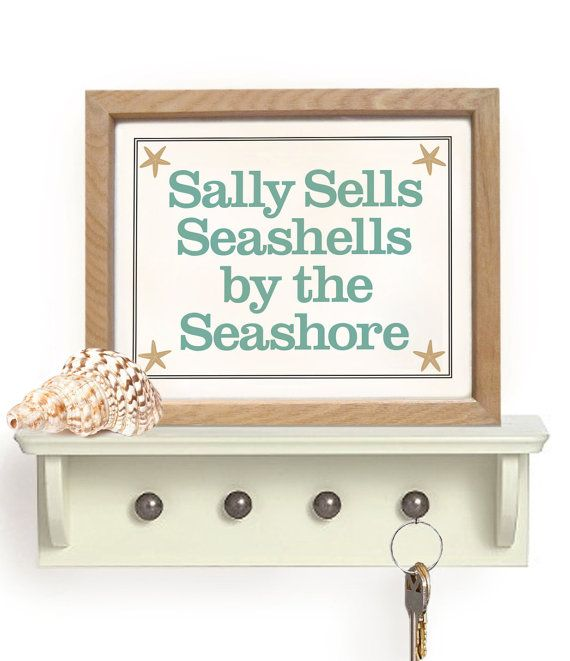 Beach Home Decor Art Print Sally Sells Seashells Tongue By Dexmex 16 00 Home Decor Beachy Decor Sea Shells