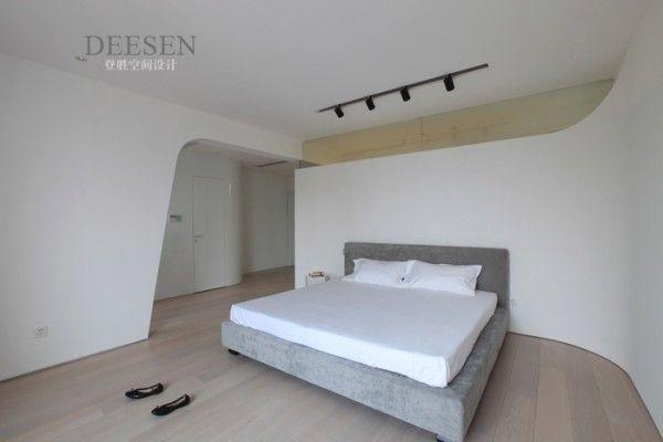 Futuristic design lightning bedroom sleek and white with rail lighting charming sky villa in nanjing