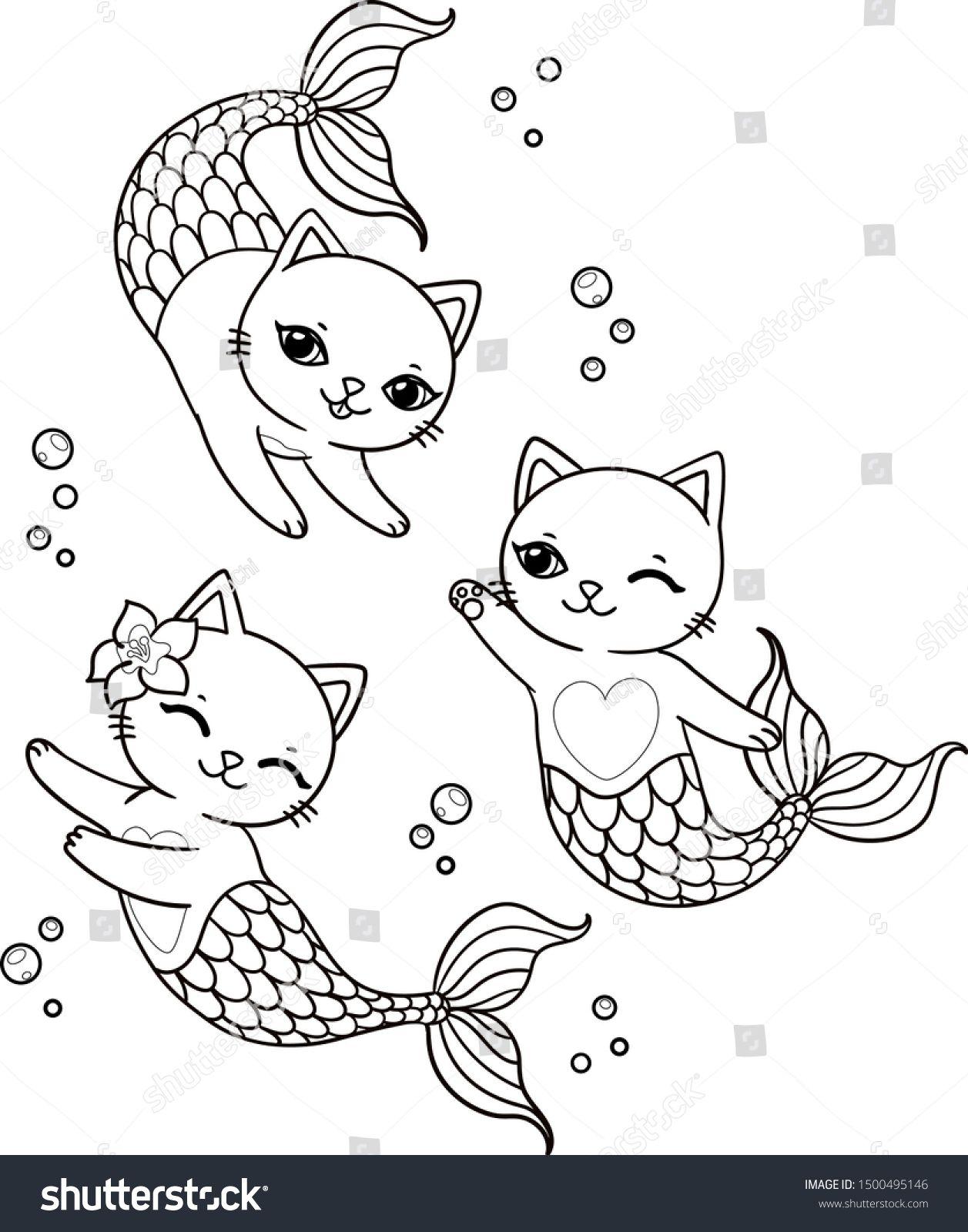 Three Cute Mermaid Cats Bubbles Vector Stock Vector Royalty Free 1500495146 Mermaid Coloring Book Unicorn Coloring Pages Mermaid Coloring Pages