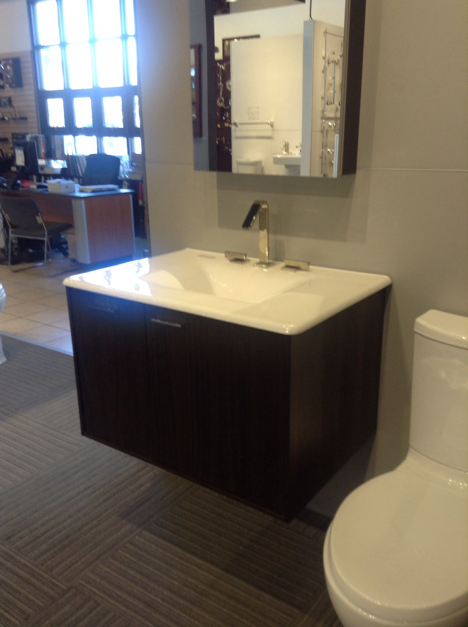 Kohler Jute vanity with Iron Impressions sink in Sea Salt color ...