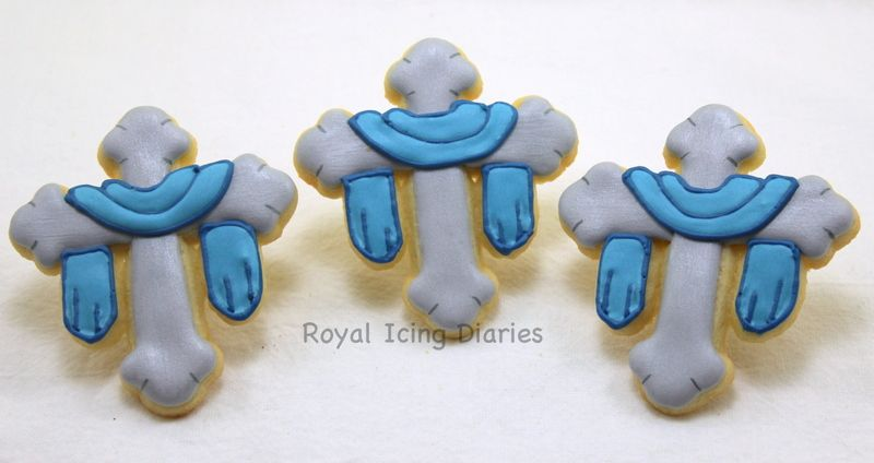 Draped cross cookies for a Confirmation, Communion, or a Baptism