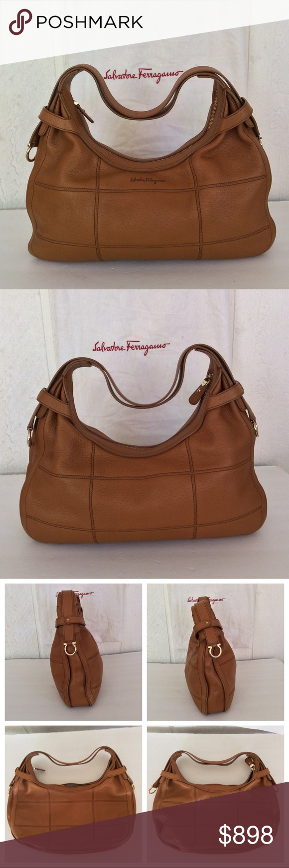 """FERRAGAMO HOBO LEATHER HANDBAG EUC the ultimate in style and sophistication!  This Salvatore Ferragamo leather bag is totally on trend!  Superb Italian craftsmanship. Leather has no flaws, marks or knicks. Gleaming goldtone hardware, full zipper top. Interior fabric has some pen markings. Interior has one zippered accessory pocket and two open slip pockets. Comes with dustbag and receipt. Purchased from the Ferragamo store in Italy. Bag measures approximately 16"""" long main body approx 9"""" high st #zippertop"""