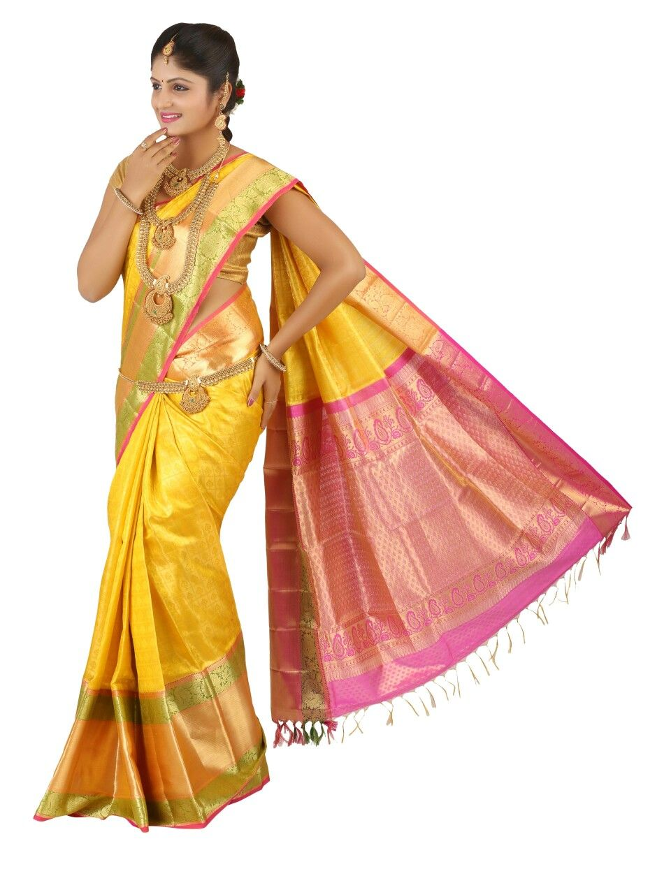 2598b470e4638 Yellow colour Kanchipuram indian wedding saree made with gold zari all over  it from silk saree