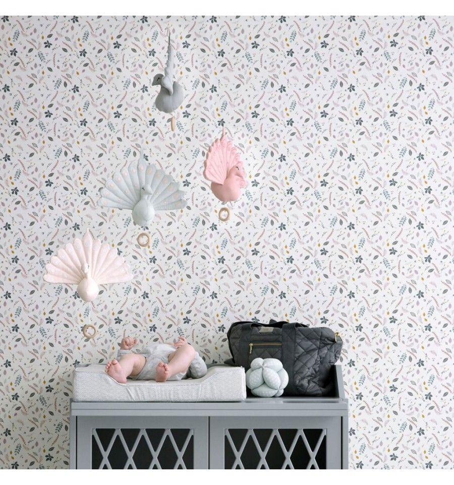 Papel pintado pressed leaves camcam para habitaciones - Papel pintado infantil ...